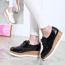 Platform Casual Style Enamel Plain Loafer & Moccasin Shoes
