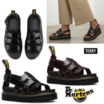 Dr Martens TERRY Open Toe Platform Casual Style Plain Leather Footbed Sandals