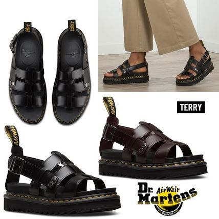c9df5aa4a0 ... Dr Martens Flat Open Toe Platform Casual Style Plain Leather Footbed  Sandals ...