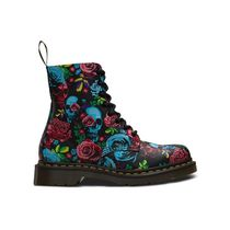 Dr Martens 1460 Skull Flower Patterns Round Toe Rubber Sole Lace-up
