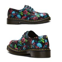 Dr Martens Skull Flower Patterns Round Toe Rubber Sole Casual Style