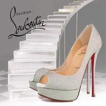 Christian Louboutin Open Toe Platform Bi-color Plain Leather Elegant Style