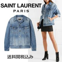 Saint Laurent Denim Blended Fabrics Plain Elegant Style Jackets
