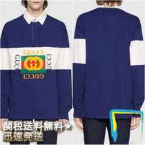 GUCCI Pullovers Stripes Long Sleeves Cotton Polos