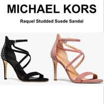 Michael Kors Open Toe Suede Studded Pin Heels Party Style Sandals