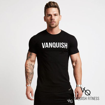 VANQUISH FITNESS Crew Neck Crew Neck Street Style Plain Cotton Short Sleeves Khaki 2