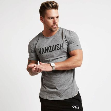 VANQUISH FITNESS Crew Neck Crew Neck Street Style Plain Cotton Short Sleeves Khaki 6