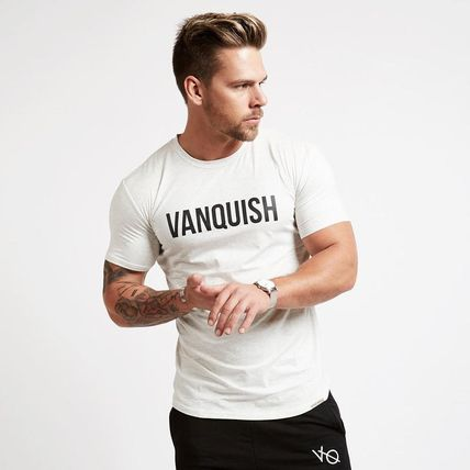 VANQUISH FITNESS Crew Neck Crew Neck Street Style Plain Cotton Short Sleeves Khaki 8