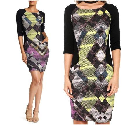 Crew Neck Casual Style Tight Cropped Medium Dresses