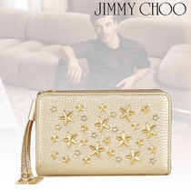 Jimmy Choo Star Studded Plain Leather Folding Wallets