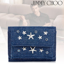 Jimmy Choo Star Canvas Studded Plain Folding Wallets