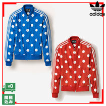 adidas Dots Unisex Street Style Collaboration Leather Biker Jackets