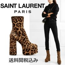 Saint Laurent Leopard Patterns Round Toe Blended Fabrics Elegant Style