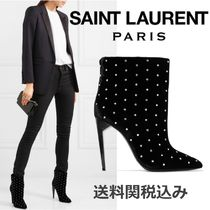 Saint Laurent Blended Fabrics Studded Plain Pin Heels Elegant Style