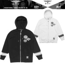BOY LONDON Short Unisex Studded Plain Varsity Jackets