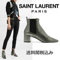 Saint Laurent LOU Blended Fabrics Plain Leather Chelsea Boots Elegant Style