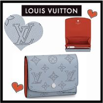Louis Vuitton MAHINA Monogram Unisex Calfskin Plain Folding Wallets