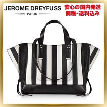 Jerome Dreyfuss Stripes A4 2WAY Leather Elegant Style Totes