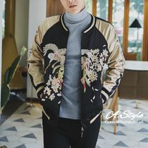 Short Flower Patterns Street Style Souvenir Jackets