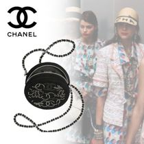 CHANEL Studded Chain Party Style Clutches