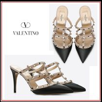 VALENTINO Studded Leather Pin Heels Elegant Style Heeled Sandals