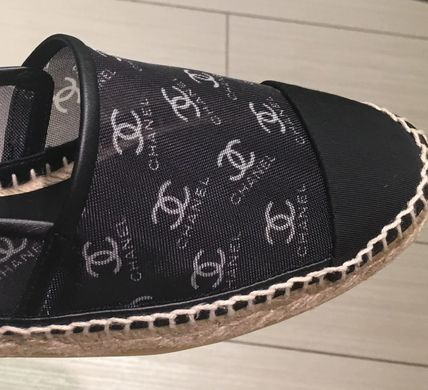 CHANEL Logo Platform Round Toe Casual Style Espadrille Shoes