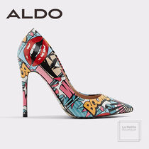 ALDO Faux Fur Pin Heels Party Style Oversized Heeled Sandals