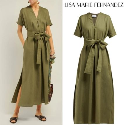 Casual Style Maxi Linen V-Neck Plain Long Short Sleeves