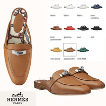 HERMES Plain Toe Blended Fabrics Plain Leather Elegant Style