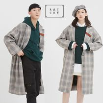 ROMANTIC CROWN Other Check Patterns Unisex Street Style Long Oversized