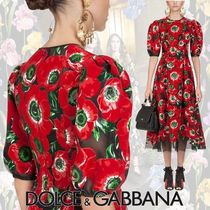 Dolce & Gabbana Flower Patterns A-line Puffed Sleeves Long Midi