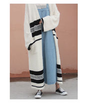 Cable Knit Stripes Casual Style Street Style Cotton Long
