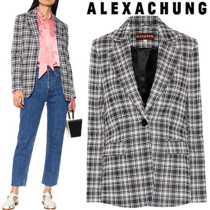 Gingham Medium Elegant Style Jackets