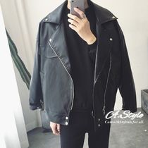 Short Faux Fur Street Style Plain Oversized Biker Jackets