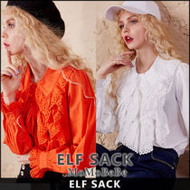ELF SACK Casual Style Long Sleeves Plain Medium Lace Shirts & Blouses
