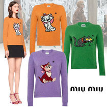 MiuMiu Cable Knit Casual Style Wool Other Animal Patterns Medium