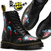 Dr Martens 1460 Skull Flower Patterns Platform Lace-up Casual Style Unisex