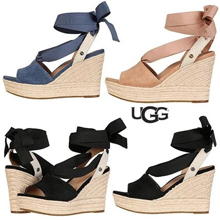Open Toe Casual Style Suede Plain Platform & Wedge Sandals