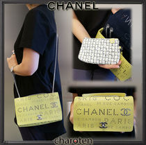 CHANEL ICON Calfskin Studded 2WAY Chain Plain Elegant Style