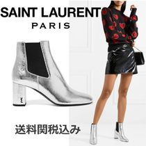 Saint Laurent LOULOU Round Toe Blended Fabrics Plain Leather Chelsea Boots