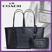 Coach Flower Patterns A4 2WAY Plain Leather Totes