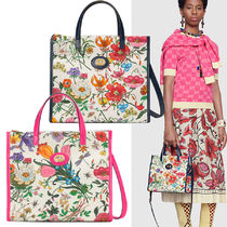 GUCCI Flower Patterns Canvas Blended Fabrics A4 2WAY Elegant Style