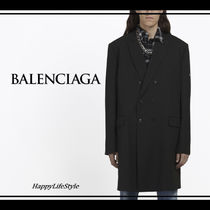 BALENCIAGA Wool Plain Long Chester Coats
