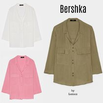 Bershka Casual Style Cropped Plain Medium Shirts & Blouses