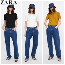 ZARA Plain Short Sleeves Elegant Style Polo Shirts