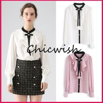 Chicwish Chiffon Bi-color Long Sleeves Medium With Jewels