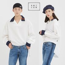 ROMANTIC CROWN Unisex Street Style Plain Oversized T-Shirts