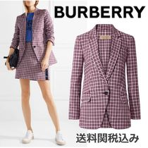 Burberry Other Check Patterns Blended Fabrics Elegant Style Jackets