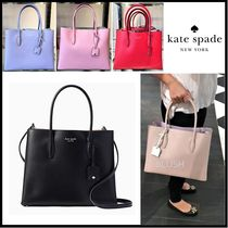 kate spade new york A4 2WAY Plain Leather Elegant Style Totes