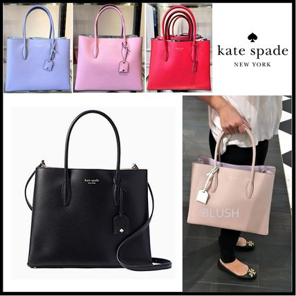 A4 2WAY Plain Leather Elegant Style Totes